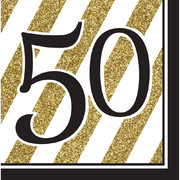 Black & Gold '50' 3 Ply Lunch Napkins Pk 16