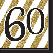 Black & Gold '60' 3 Ply Lunch Napkins Pk 16