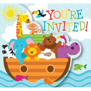Noah's Ark Invitations Pk 8 (White Envelopes Included)