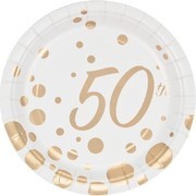 Sparkle & Shine Gold 50th Gold Dots 7in Paper Plates Pk 8