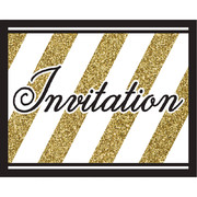 Black & Gold Invitations Pk 8 (White Envelopes Included)