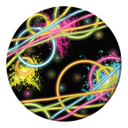 Glow Party Theme 7in. Paper Plates Pk 8