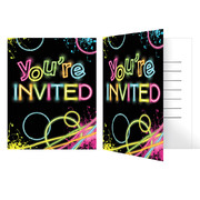 Glow Party Theme Invitations Pk 8 (Blue Envelopes Included)