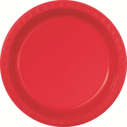 Red Plastic Plates (178mm) Pk 12