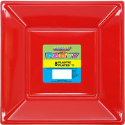 Ruby Red Square Plastic Plates 178mm Pk 8
