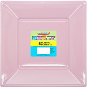 Lovely Pink Square Plastic Plates 178mm Pk 8