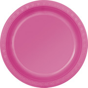 Hot Pink Plastic Plates 178mm Pk 12