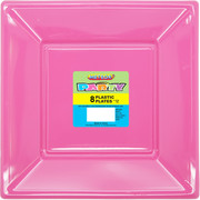 Hot Pink Square Plastic Plates 178mm Pk 8