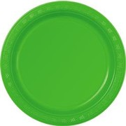 Lime Green Plastic Plates (178mm) Pk 12