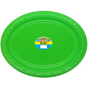 Lime Green Plastic Oval Plates (30x23cm) Pk 5