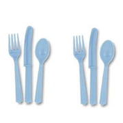 Baby Blue Cutlery Set Pk 24 (8 Forks, 8 Knives & 8 Spoons)