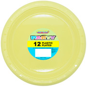 Soft Yellow Plastic Plates (178mm) Pk 12