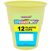 Soft Yellow Plastic Cups (9oz-270ml) Pk 12