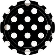 Black 7in Paper Plates with White Polka Dots Pk 8