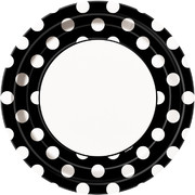 Black 9in Paper Plates with White Polka Dots Pk 8