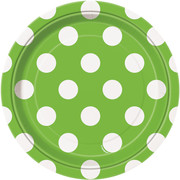 Lime Green 7in Paper Plates with White Polka Dots Pk 8