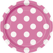 Hot Pink 7in Paper Plates with White Polka Dots Pk 8