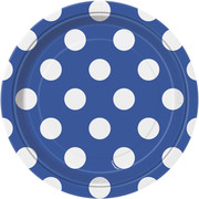 Royal Blue 7in Paper Plates with White Polka Dots Pk 8