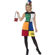Adult Rubiks Cube Female Costume Large Size 16-18