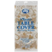 Clear Rectangular Gold Hearts Tablecover Pk 12