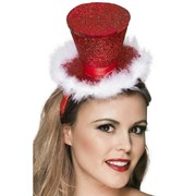 Christmas Red Glitter Mini Top Hat with White Trim on Headband Pk 1