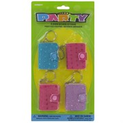 Party Favours - Sequin Notebook Keyrings Pk 4
