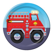 Fire Engine Party Plates - Small 17cm Firefighter Pk8