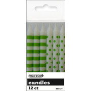 Lime Green Dots & Stripes 8cm Cake Candles Pk 12 (6 Striped & 6 Polka Dot)