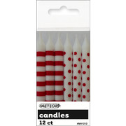 Red Dots & Stripes 8cm Cake Candles Pk 12 (6 Striped & 6 Polka Dot)