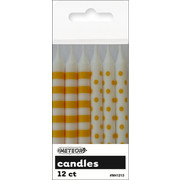 Yellow Dots & Stripes 8cm Cake Candles Pk 12 (6 Striped & 6 Polka Dot)
