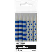 Royal Blue Dots & Stripes 8cm Cake Candles Pk 12 (6 Striped & 6 Polka Dot)