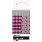Hot Pink Dots & Stripes 8cm Cake Candles Pk 12 (6 Striped & 6 Polka Dot)