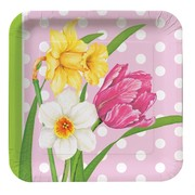 Plates Square 7in Polka Dot Garden Pk8