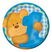 Bears First Birthday (Boy) Paper Plates (7in - 17cm) Pk 8