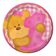Bears First Birthday Girl Paper Plates (7in - 17cm) Pk 8