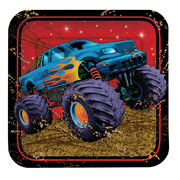 Small Square Monster Truck Paper Plates - Mudslinger 7in Pk 8