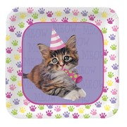 Purr-ty Time Party  Plates -  Small Square 17cm Pk8