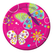 Butterfly Sparkle Paper Plates (7in-17cm) Pk 8