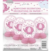 Pink Umbrellaphants Mini 6in Honeycomb Decoration Pk 4