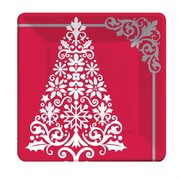 17cm Square Plates Christmas Ornamental Tree Pk8