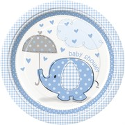 Blue Umbrellaphants 9in Paper Plates Pk 8