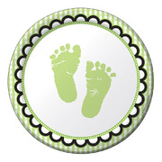 Sweet Baby Feet Green Paper Plates (7in-17cm) Pk 8