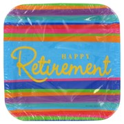 Retirement Square Party Plates - Small 17cm Pk8