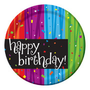 Milestone Happy Birthday Paper Plates (7in-17cm) Pk 8