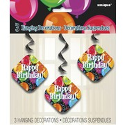 Bravo Birthday Hanging Swirl Decorations Pk 3