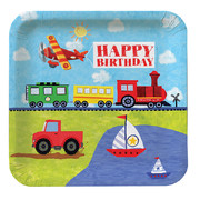 Planes, Trains, Trucks & Boats Large Square Paper Plates - On The Go Pk 8