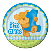 Bears First Birthday (Boy) Paper Plates (9in-22cm) Pk 8