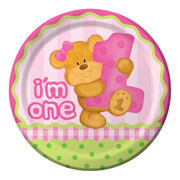 Bears First Birthday Girl Paper Plates (9in-22cm) Pk 8