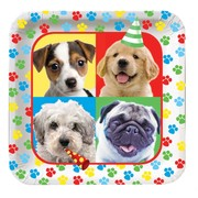 Puppy Dog Party Plates - Large 23cm Square - Paw-ty Time! Pk8