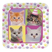 Purr-ty Time Party Plates - Large Square 22cm Pk8